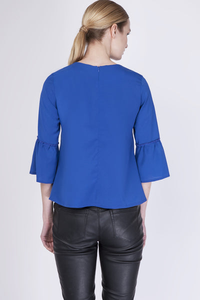 Blue Blouse With 3/4 Bell Sleeves