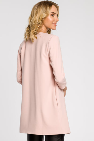 Long Straight Pink Jacket With 3/4 Sleeves