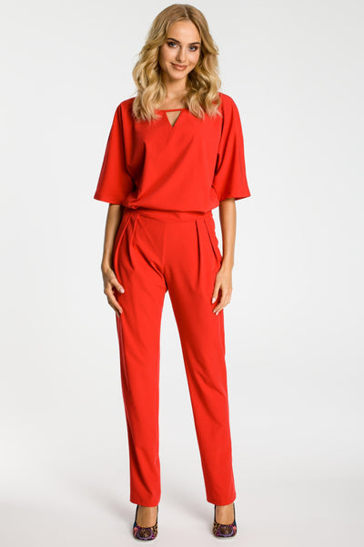 Red Jumpsuit With Kimono Sleeves