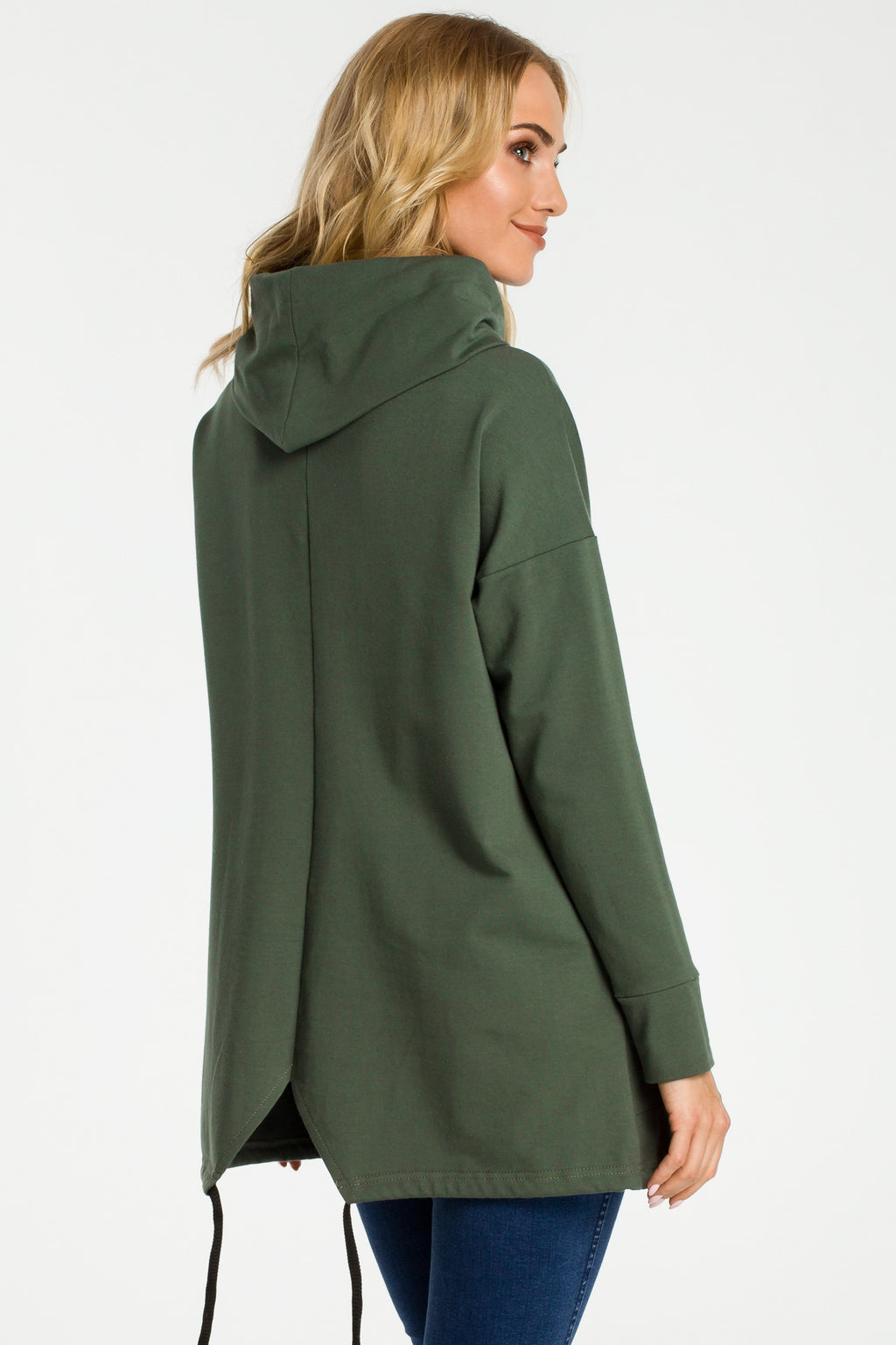 Military Green Cowl Neck Oversize Pullover
