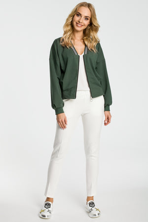 Khaki Bomber Jacket With Stripe Details - So Chic Boutique