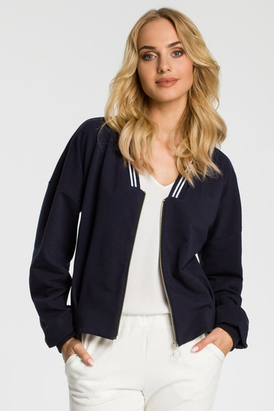 Navy Blue Bomber Jacket With Stripe Details