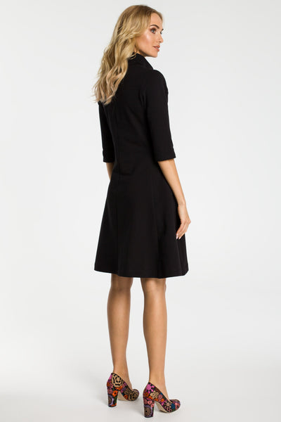 Black Zip Collar Fit And Flare Dress
