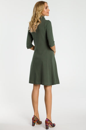Khaki Zip Collar Fit And Flare Dress - So Chic Boutique
