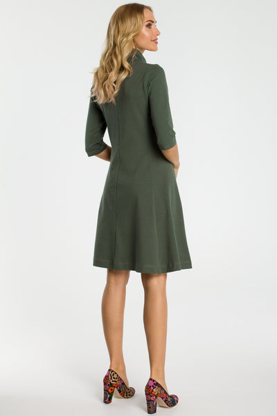 Military Green Zip Collar Fit And Flare Dress