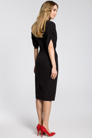 Black Midi Sheath Dress With Kimono Sleeves