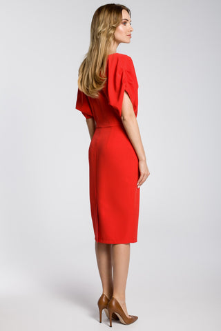 Red Midi Sheath Dress With Kimono Sleeves