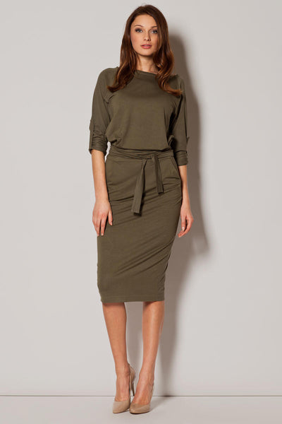 Khaki Loose Fitting Midi Dress With Pockets
