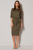 Midi Khaki Loose Fitting Dress With Pockets