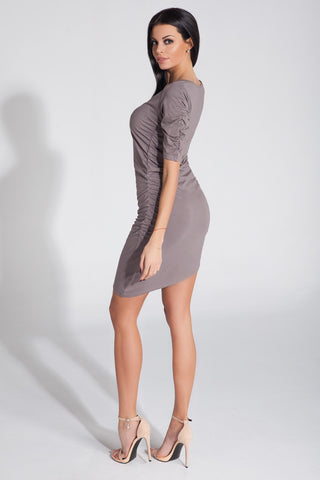 Mini Asymmetric Cappuccino Dress
