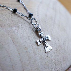 Black Rosary Cross Necklace - Khutsala™ Artisans