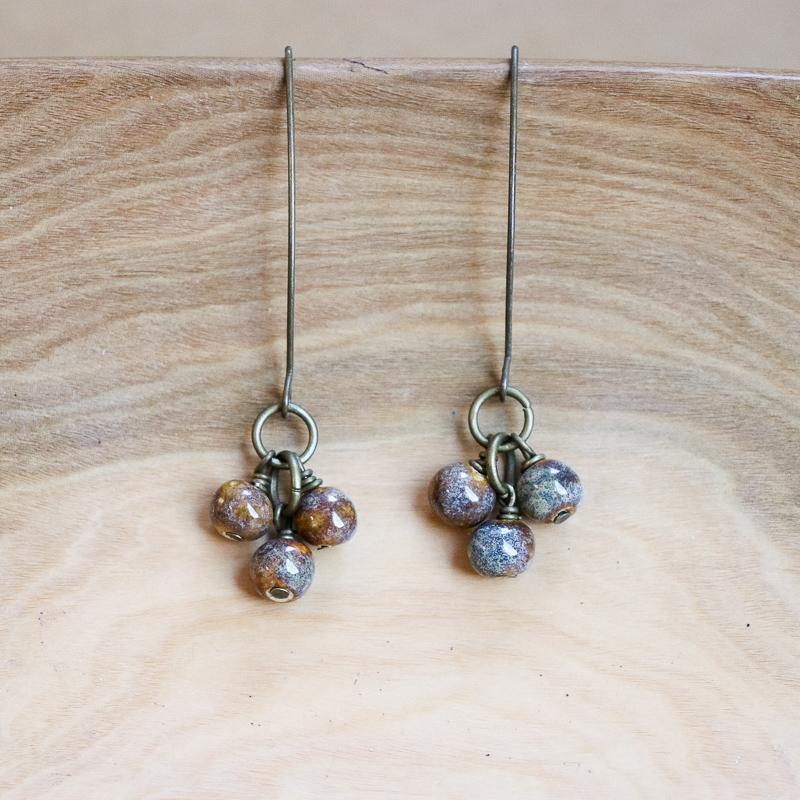 SwaziMUD Cluster Dangle Earrings