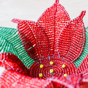 Beaded Poinsettia Bowl - Khutsala™ Artisans