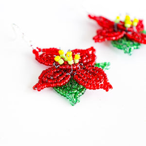 Poinsettia Earrings - Khutsala™ Artisans
