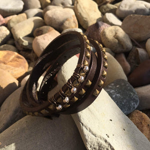 Studded Leather Bracelet - Khutsala™ Artisans