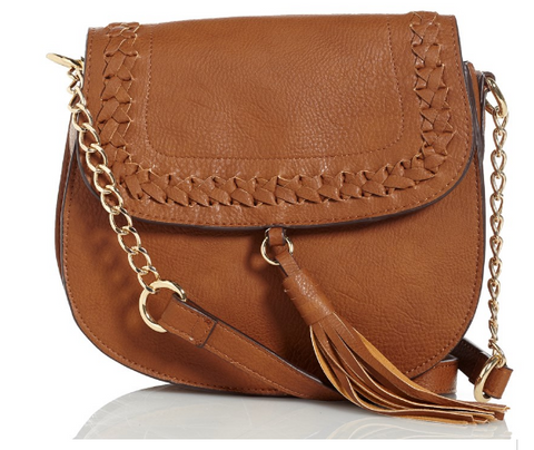 Braided Crossbody Saddle  Cognac Bag