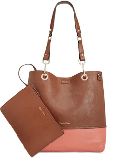 Reversible Tote With Pouch in Salmon Color