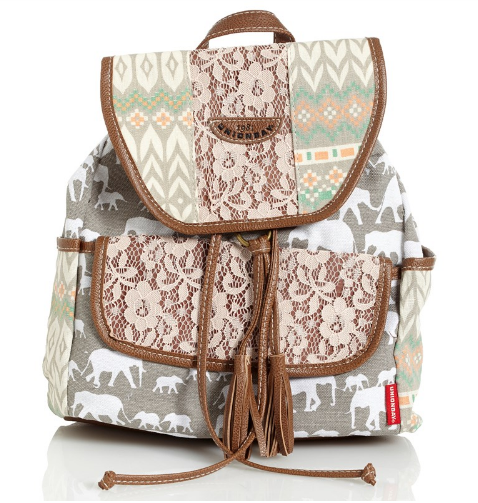 Crochet Print Canvas Backpack