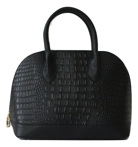 Duple Crocodile Faux Leather Satchel