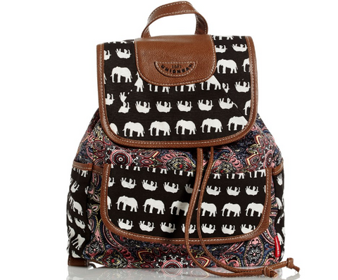 Elephant Multi-Print Canvas Backpack