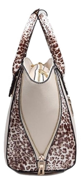 Leopard Faux Leather Top Handle Satchel