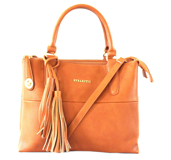 Modish Faux Leather Medium Satchel