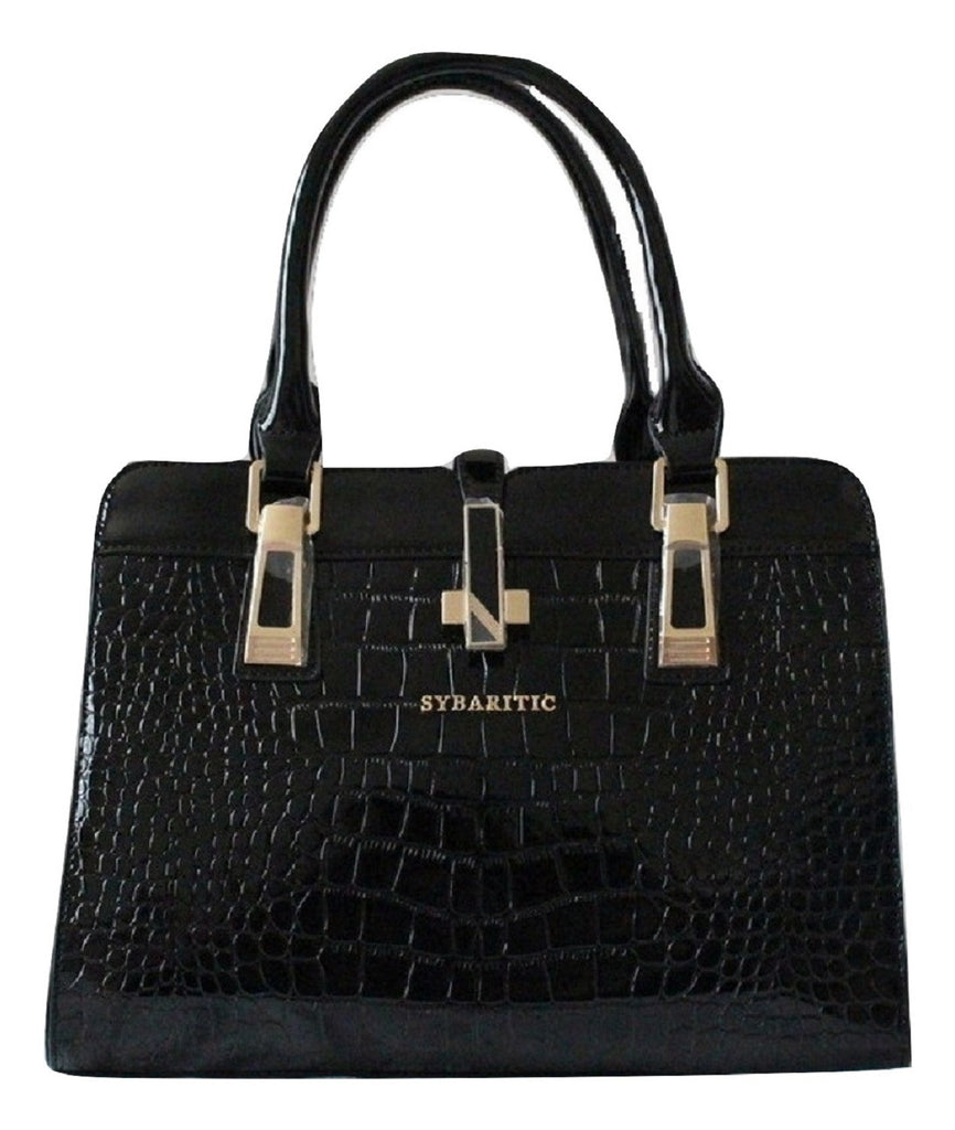 Plush Croc Embossed Leather Medium Satchel