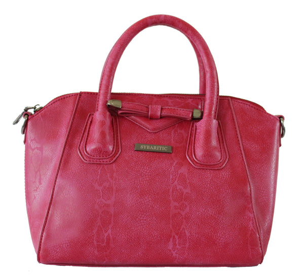 Snake Print Front Bow Faux Leather Small Satchel