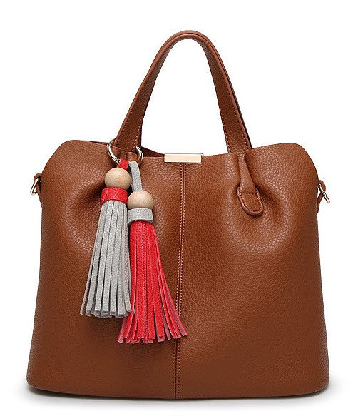 Tassle Faux Leather Medium Satchel