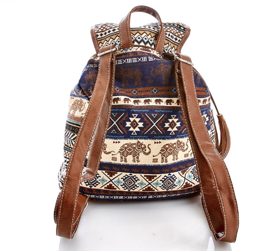 Elephant Print Canvas Backpack