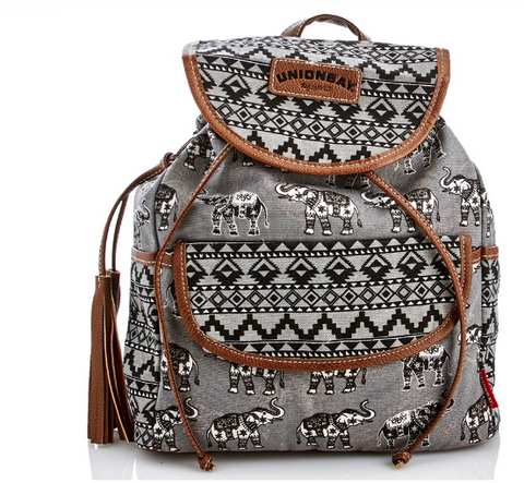 Print Elephant Canvas Backpack