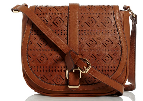 Cutout Crossbody Saddle Cognac Bag