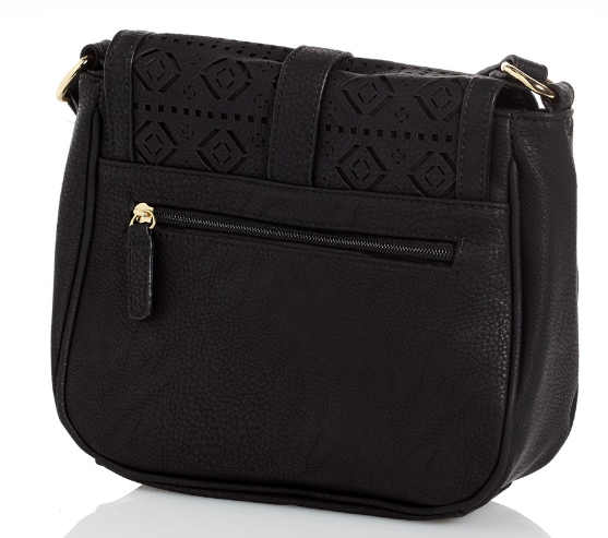 Cutout Crossbody Saddle Black Bag