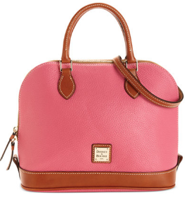 Pink Dooney & Bourke Pebble Zip Zip Satchel