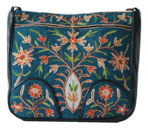Woolen Embroided Faux Soft Leather Shoulder Bag