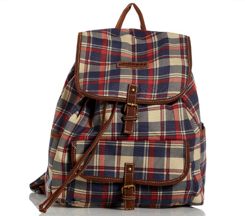Navy & Red Plaid Canvas Backpack