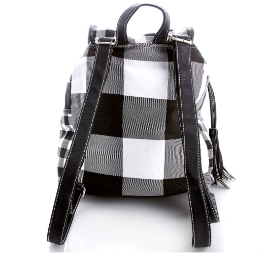 Black & White Plaid Canvas Backpack