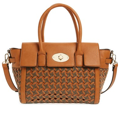Woven Faux Leather Winged Satchel