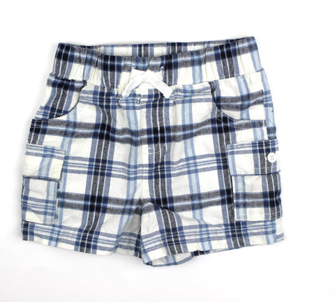 Osh Kosh Plaid Cargo Shorts, Size 6 Months - May Bug Treasures