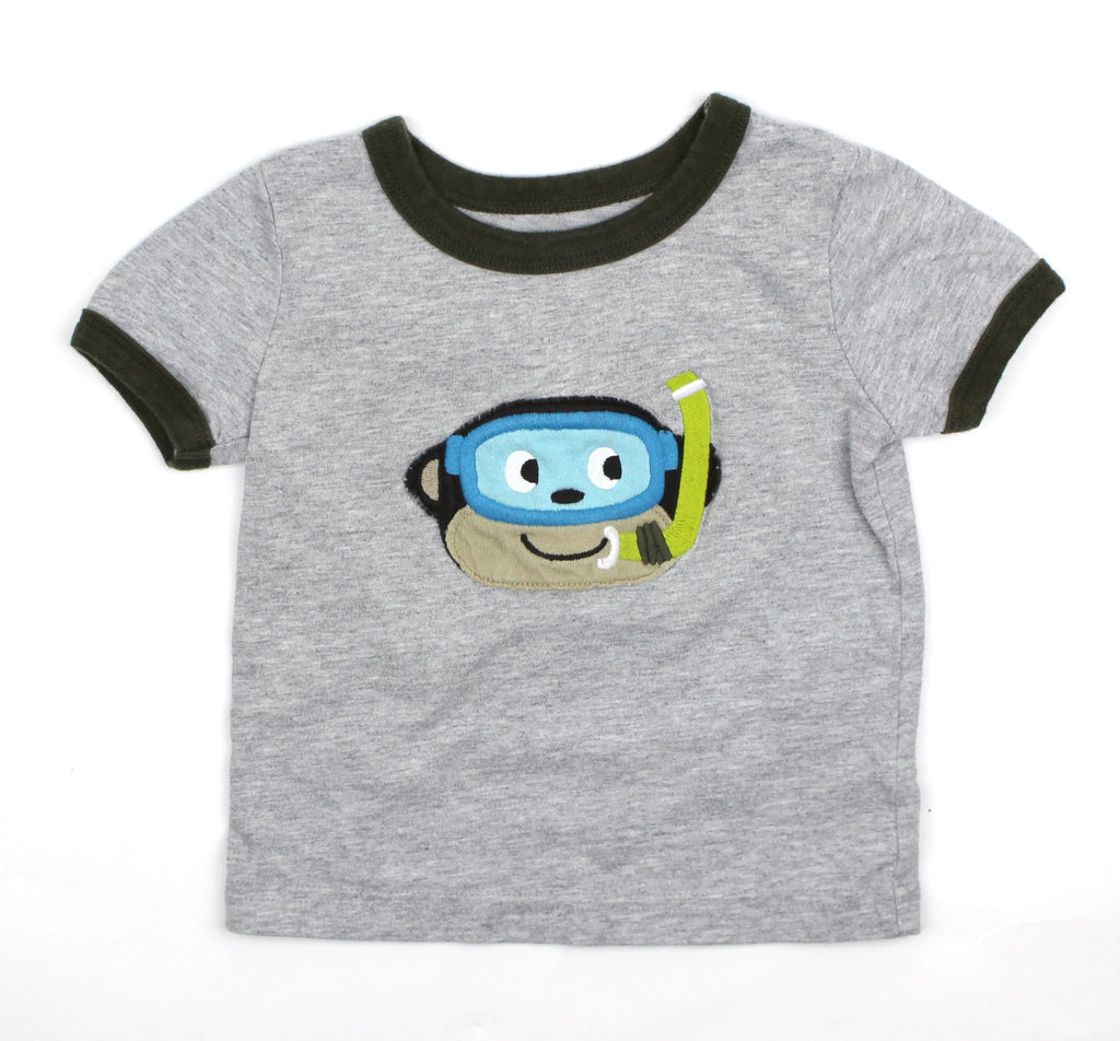 Carters Grey T-Shirt with Monkey, Size 9 Months - May Bug Treasures