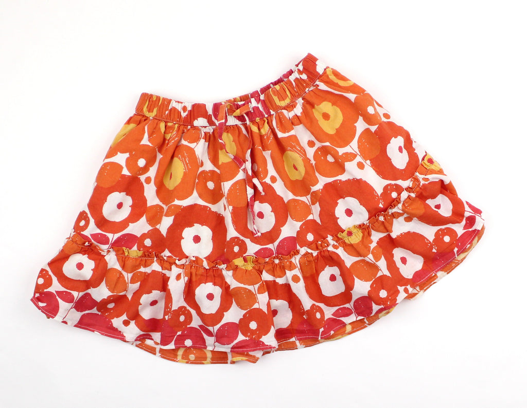 Girls Orange Flowered Lined Skirt in Size S (6/7) - May Bug Treasures