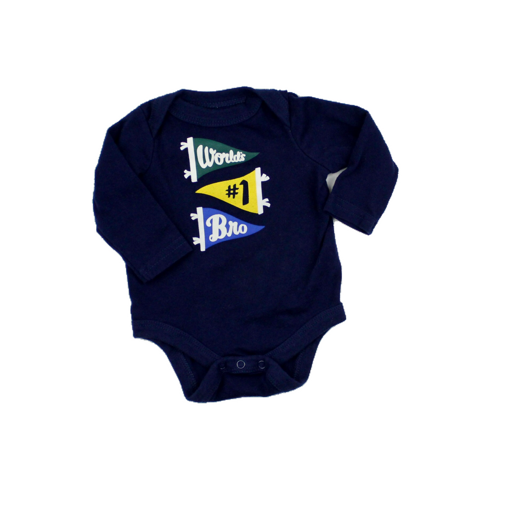 Infant Boys Navy World's #1 Bro Bodysuit, Size Newborn - May Bug Treasures