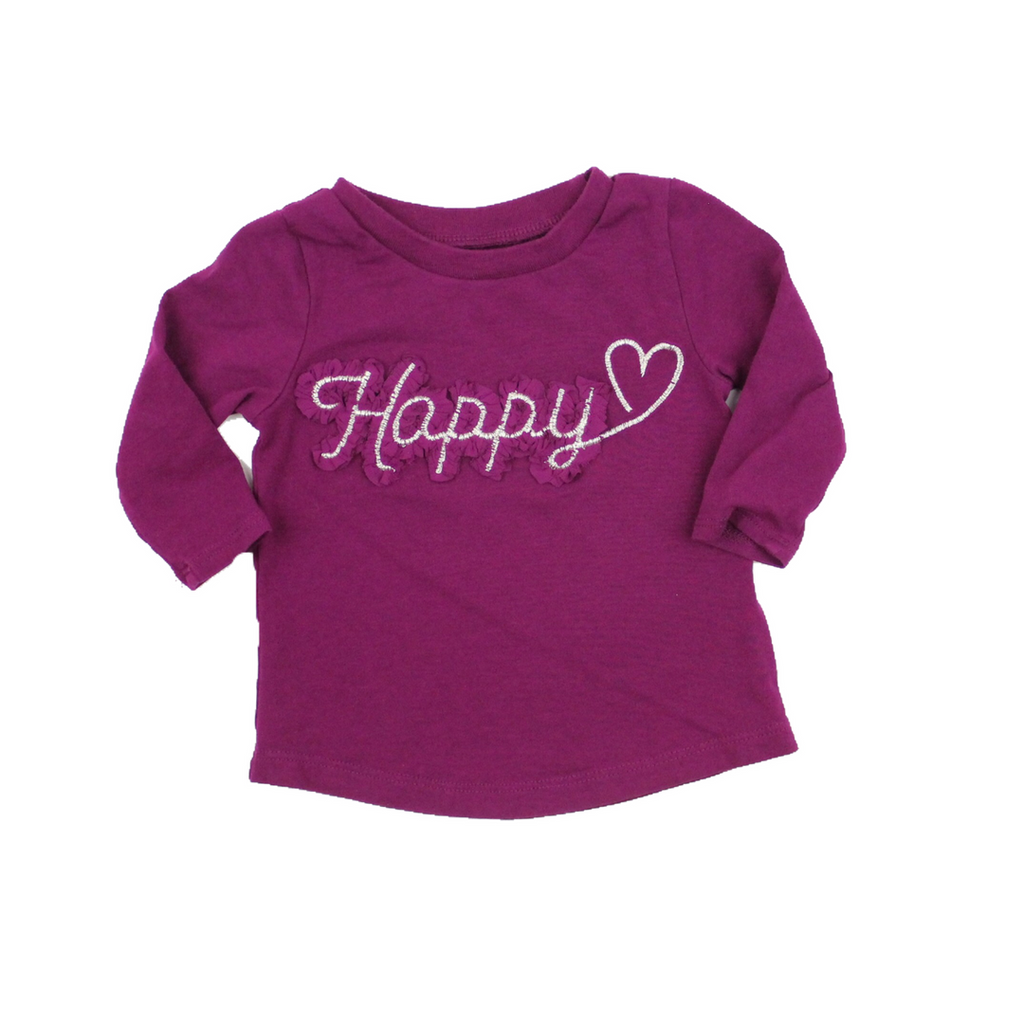 Girls Long Sleeve Purple 'Happy' Shirt, Size 3 Months - May Bug Treasures