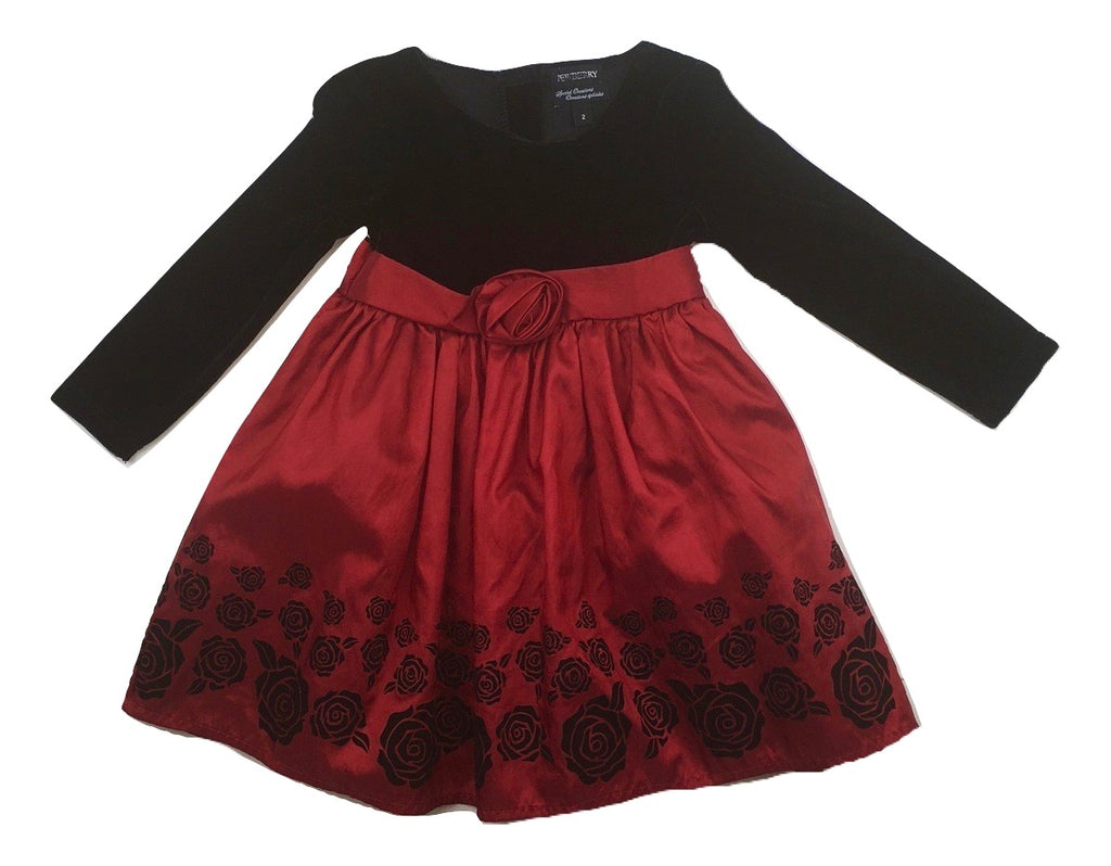 Newberry Girls Dress with Black Bodice and Red Skirt with Black Rose Design and Crinoline in Size 2 Available Online at Gently Used Kids Clothes Resale May Bug Treasures