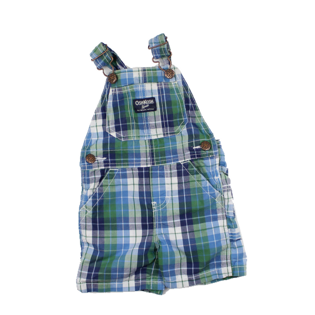 Osh Kosh Toddler Green Plaid Shortalls, Size 9 Months Available Online at Gently Used Baby Clothes Resale May Bug Treasures