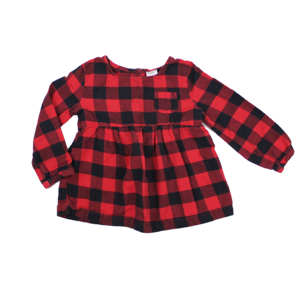 Girls Black and Red Check Flannel Top, Size 2T - May Bug Treasures