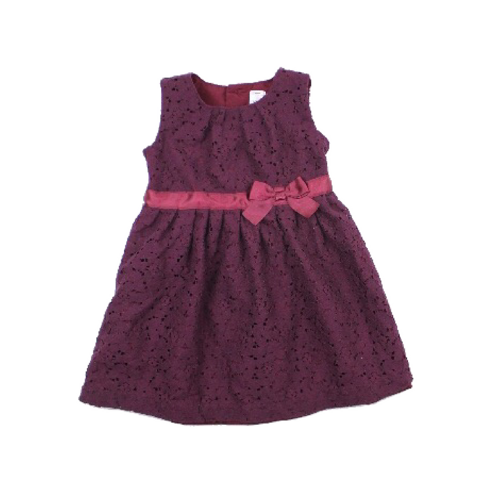Toddler Girls Plum Lace Dress, Size 24 Months - May Bug Treasures