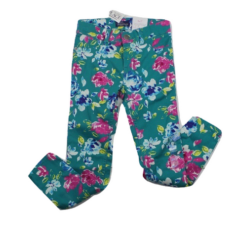 Brand New Children's Place Teal Floral Jeggings, Size 6X/7 - May Bug Treasures