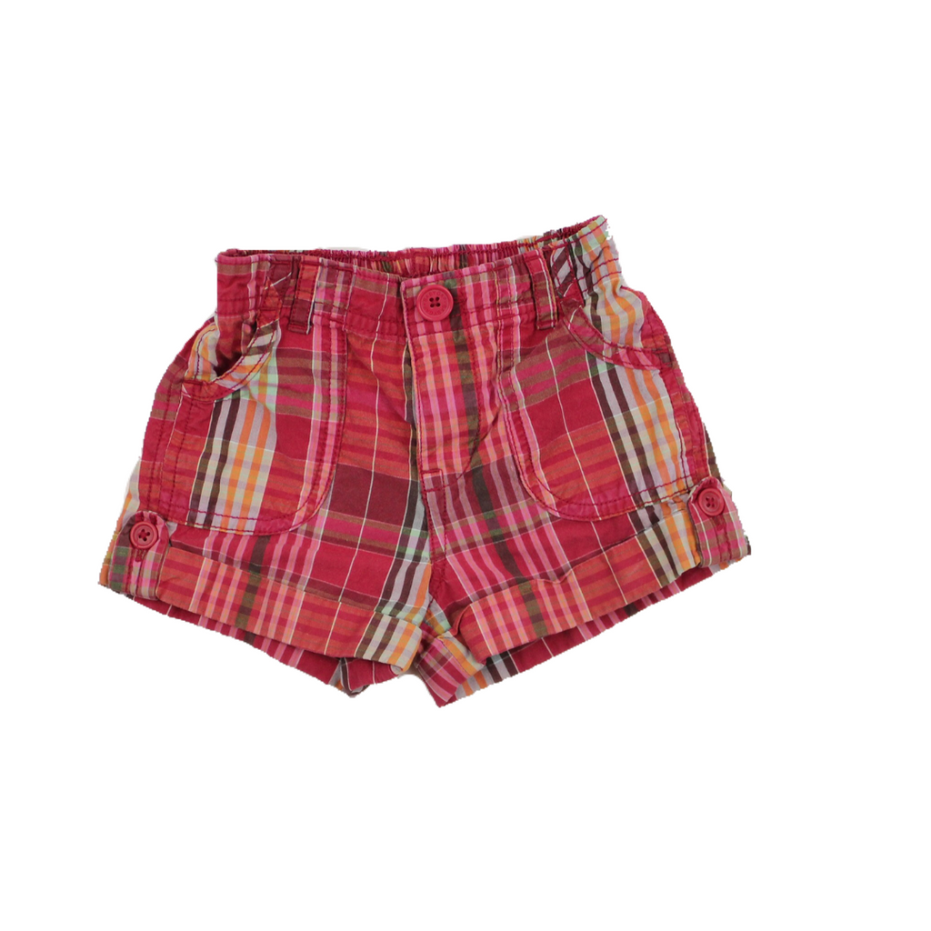 Baby Gap Girls Pink Plaid Cuffed Shorts, Size 12-18 Months - May Bug Treasures