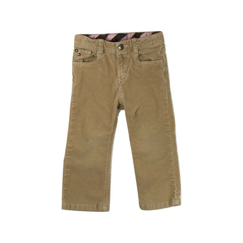 Tommy Hilfiger Girls Beige Corduroy Pants with adjustable waist in Size 18 Months Available Online at Gently Used Kids Clothes Resale May Bug Treasures